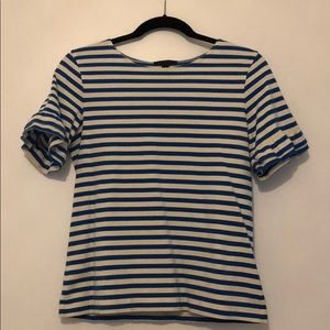 Stripped t-shirt with ruffle sleeve detail